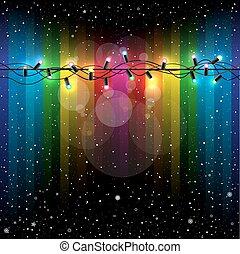 Christmas lights snow rainbow