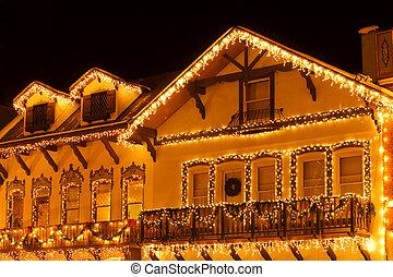Christmas lights on houses of Leavenworth bavarian village,...