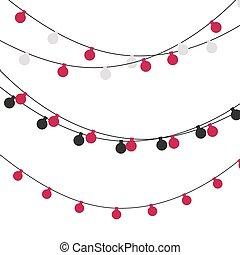 Christmas lights strings. Vector flat Xmas garland. Festive garlands set