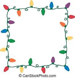 Christmas lights vector border