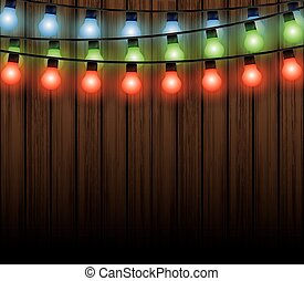 Christmas lights with background, light bulbs vector