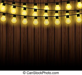 Christmas lights with background, light bulbs vector
