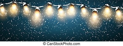 Christmas Lights With Snow. Vector Holiday Illustration of...