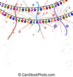 Christmas lights with streamers and fireworks