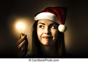Christmas lights woman with bright idea