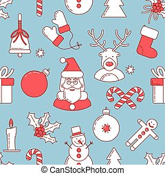 Christmas line design seamless pattern with Santa Claus and...