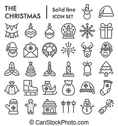 Christmas line icon set, holiday symbols collection, vector sketches, logo illustrations, winter signs linear pictograms package isolated on white background, eps 10.