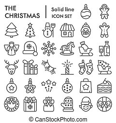Christmas line icon set, xmas symbols collection, vector sketches, logo illustrations, winter signs linear pictograms package isolated on white background, eps 10.