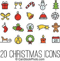 christmas line icons collection
