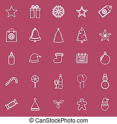 Christmas line icons on red background