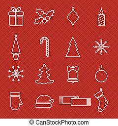 Christmas line icons set for web and holidays design