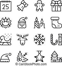 Christmas line icons set. Modern graphic design concepts, simple stroke outline elements collection. Vector line icons