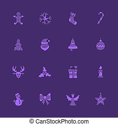 Christmas linear icon set on violet