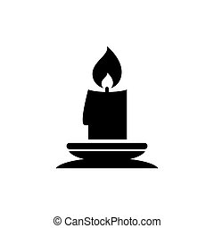 Christmas Lit Candle and Candlestick Holder. Flat Vector Icon illustration. Simple black symbol on white background. Lit Candle, Candlestick Holder sign design template for web and mobile UI element.
