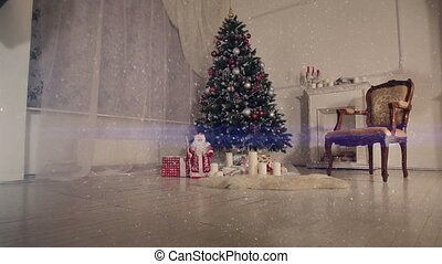 Christmas living room. Falling snow.