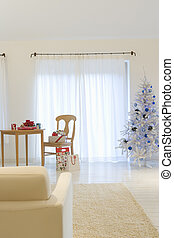 Christmas living room with a white tree
