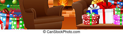 Christmas Living Room Cartoon Living Room Interior Decorated For