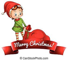 Christmas logo with elf - Elf pulling sack of toys Christmas...