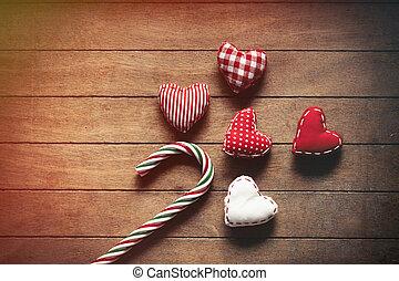 Christmas lollipop and heart shape toys