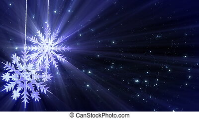 computer generated seamless loop abstract background. two snowflakes and glitter snowfall. Progressive scan