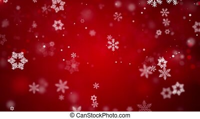 Christmas Loopable Background With Nice Red Falling Snowflakes