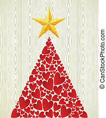 Christmas love heart pine tree over wooden texture pattern...