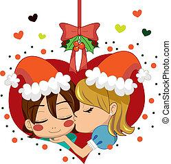 Christmas Love Kiss - Girl kissing boy under mistletoe...