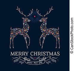 Christmas love reindeer vintage greeting card