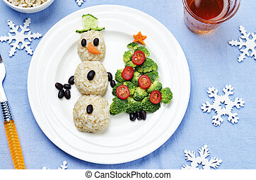 Christmas lunch with healthy kid's food