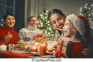 christmas., magasztal, család