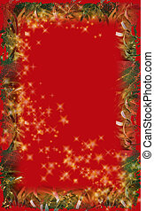Christmas Magic - Red and gold border on red with twinkle...