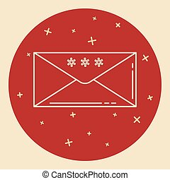 Christmas mail icon in thin line style