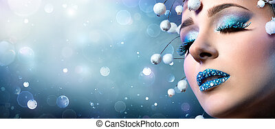 Christmas Makeup - Rhinestones