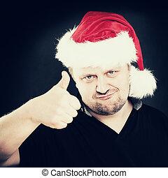Christmas Man Showing Like. Thumb Up Sign