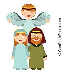Christmas manger characters design, vector illustration ...