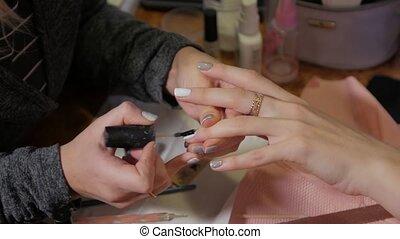 Christmas manicure pattern nails drawing closeup