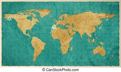 Christmas map of the world. Retro style.
