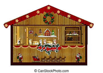 christmas market - a decorated Christmas market - isolated ...