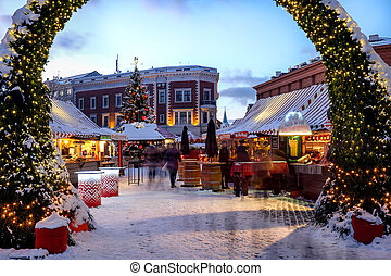 Christmas market at the Dome square in Riga Old Town, Latvia.