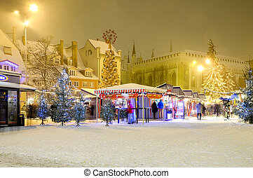 Christmas market at the Philharmonic square in Riga Old Town, Latvia.