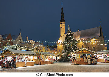 Christmas market in Tallinn, Estonia - Christmas market at...