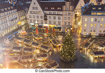 Christmas market in Tallinn, Estonia - Illuminated Christmas...