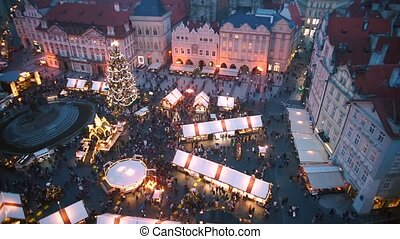 Christmas market on Old Town Square in Prague.
