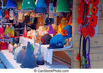 Christmas market stall at Dome square in Old Riga