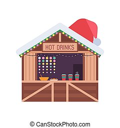 Christmas market stall with food and hot drinks. Xmas gift shop with garlands, souvenirs and santa hat on roof. Christmas wooden souvenir kiosk vector illustration.
