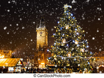 Christmas marketplace in Oldtown square, Prague, Czech ...