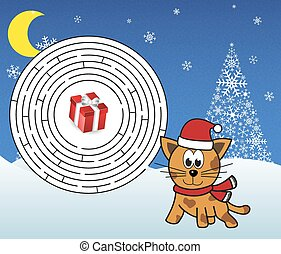 Christmas maze - help cat (tiger) g