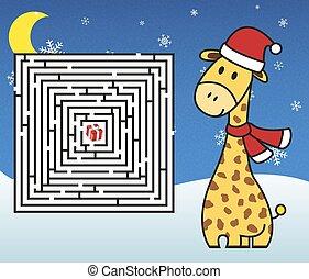 Christmas maze - help giraffe get t