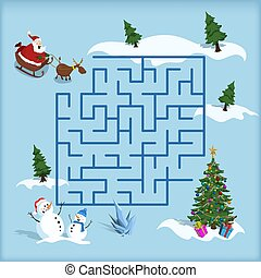 Christmas maze. Kids labyrinth. Cartoon game: search the path. Help Santa find the way to xmas tree. Winter holiday puzzle