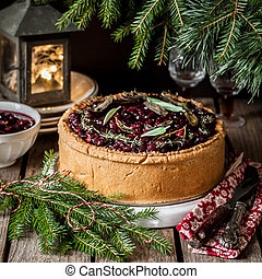 Meat Pie with Cranberry Sauce